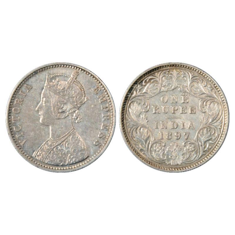 British India Victoria Empress Silver Rupee 1887 C incused  silver coin.